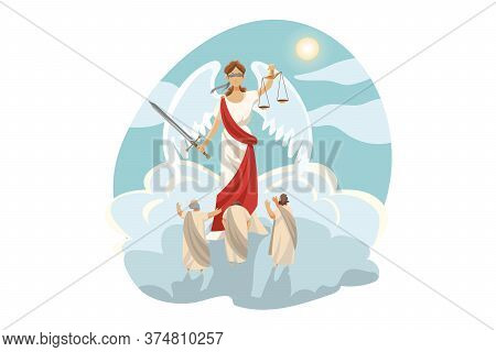 Mythology, Greece, Olympus, Legend, Religion Concept. Ancient Greek Religious Myths Illustration Ser