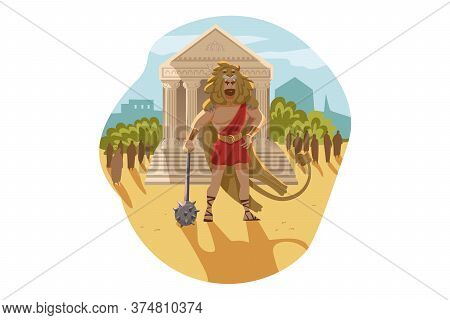 Mythology, Greece, Olympus, God, Heracles, Religion Concept. Ancient Greek Religious Myths Illustrat