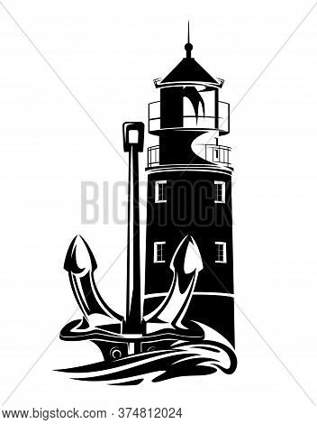 Lighthouse Tower, Anchor And Sea Wave - Sea Voyage Adventure Black And White Vector Design