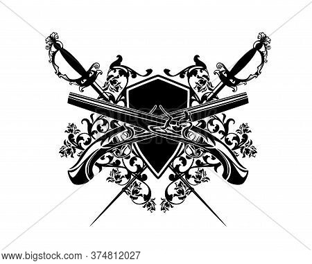 Crossed Pistols And Epee Swords With Heraldic Shield Among Rose Flowers - Antique Style Duel Club Bl
