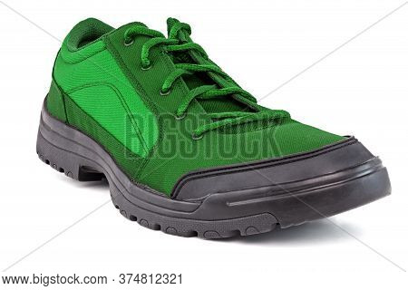 Right Cheap Green Hiking Or Hunting Shoe Isolated On White Background
