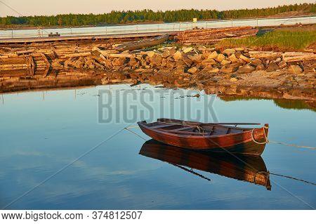 Boat In The Village Of Rabocheostrovsk, Russia. White Sea