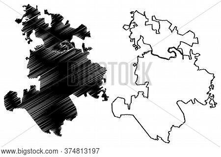 Pekanbaru City (republic Of Indonesia, Sumatra Island) Map Vector Illustration, Scribble Sketch City