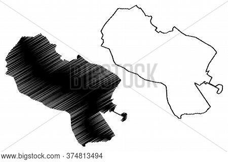 Mashhad City (islamic Republic Of Iran, Persia, Razavi Khorasan Province) Map Vector Illustration, S