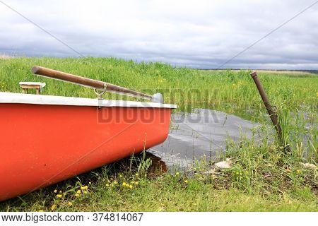 Boat On Estuary Of Lake Seliger