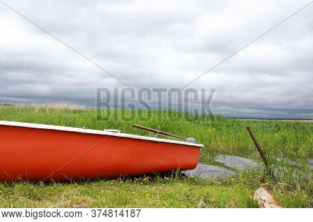 Side Of Boat On Estuary Of Lake Seliger