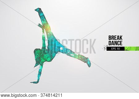 Abstract Silhouette Of A Wireframe Breake Dancer. Teenager Dance Hip-hop. Woman Bgirl From Particles