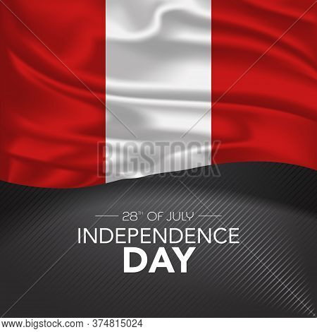 Peru Happy Independence Day Greeting Card, Banner, Vector Illustration