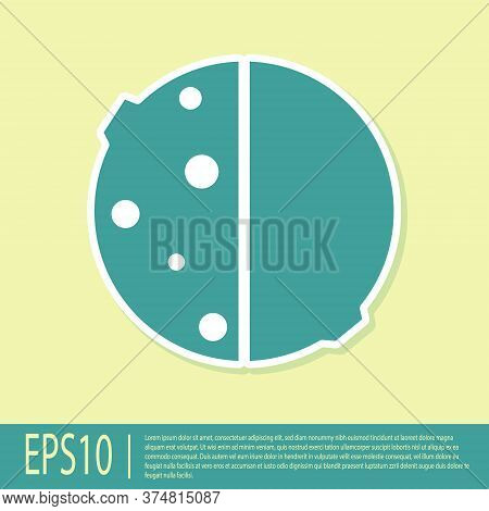 Green Eclipse Of The Sun Icon Isolated On Yellow Background. Total Sonar Eclipse. Vector Illustratio