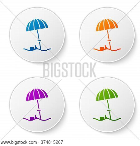Color Sun Protective Umbrella For Beach Icon Isolated On White Background. Large Parasol For Outdoor