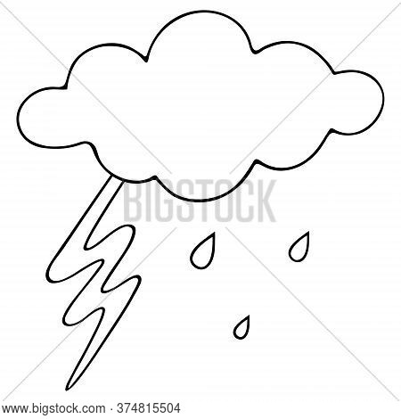 Lightning, Cloud And Raindrops. Sketch. Storm. Vector Illustration. Outline On An Isolated White Bac