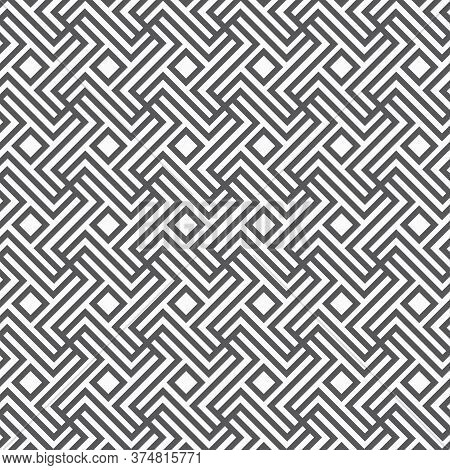 Linear Vector Pattern, Repeating Stripe Line And Cross At Center, Japanese Pattern Stylish. Clean De