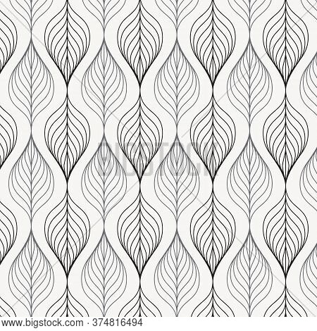 Linear Vector Pattern, Repeating Leaves On Garland, Linear Of Leaf Or Flower, Floral With Gradient C