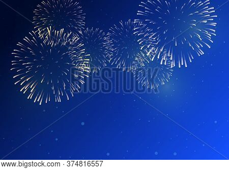 Brightly Colorful Fireworks On Twilight Background For Festive Event
