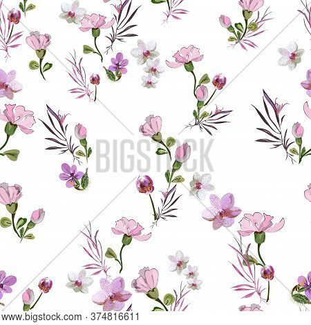Delicate Cute Floral Pattern With Little Pink Flowers Of Orchids, Violets, Roses And Buds On A White