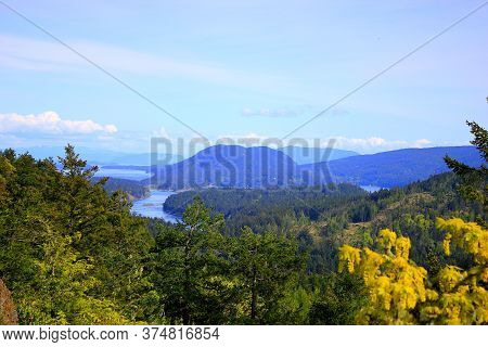 Overlooking The Many Gulf Islands Of British Columbia Canada On A Colourful Day In The Early Fall Wi
