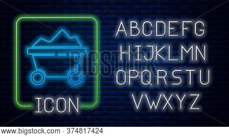 Glowing Neon Coal Mine Trolley Icon Isolated On Brick Wall Background. Factory Coal Mine Trolley. Ne