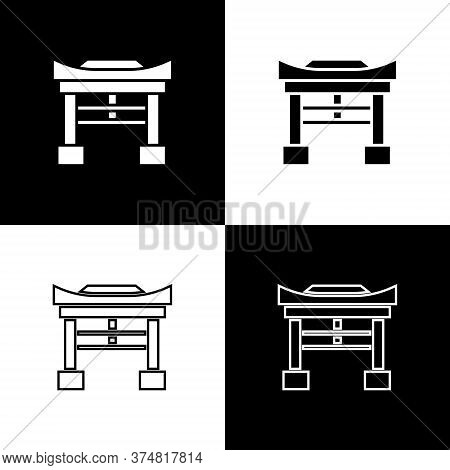 Set Japan Gate Icon Isolated On Black And White Background. Torii Gate Sign. Japanese Traditional Cl