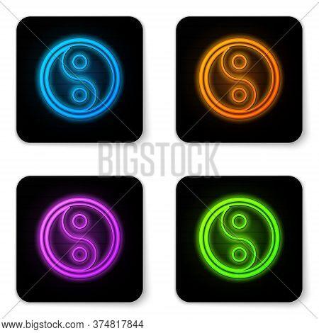 Glowing Neon Yin Yang Symbol Of Harmony And Balance Icon Isolated On White Background. Black Square