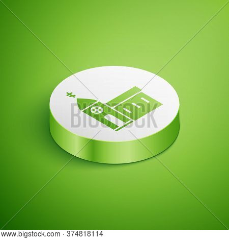Isometric Church Building Icon Isolated On Green Background. Christian Church. Religion Of Church. W