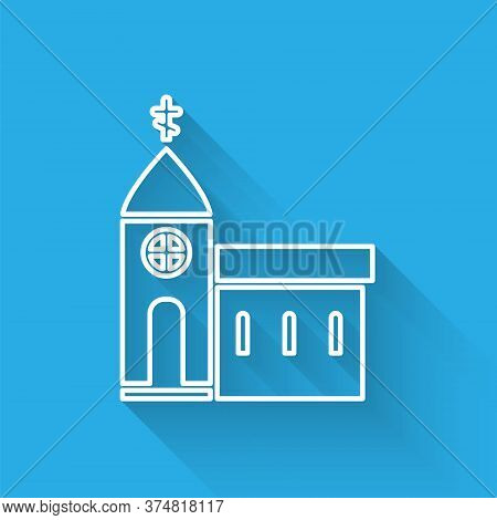 White Line Church Building Icon Isolated With Long Shadow. Christian Church. Religion Of Church. Vec