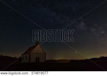 Mystic Chapel Under Clear Spangled Sky At Night