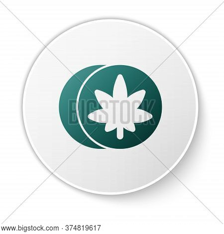 Green Herbal Ecstasy Tablets Icon Isolated On White Background. White Circle Button. Vector Illustra