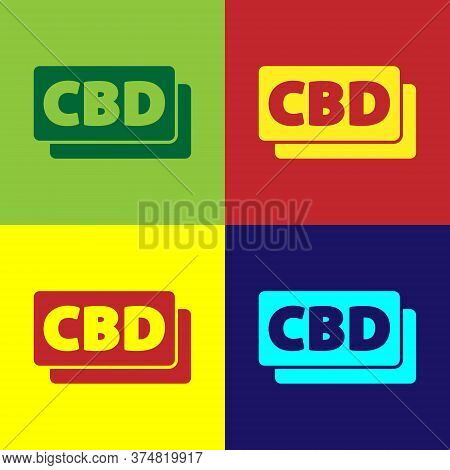 Pop Art Cannabis Molecule Icon Isolated On Color Background. Cannabidiol Molecular Structures, Thc A