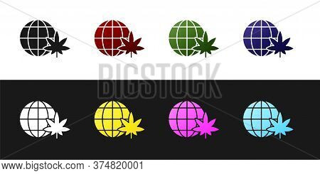 Set Legalize Marijuana Or Cannabis Globe Symbol Icon Isolated On Black And White Background. Hemp Sy