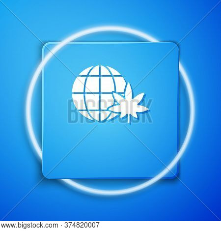 White Legalize Marijuana Or Cannabis Globe Symbol Icon Isolated On Blue Background. Hemp Symbol. Blu