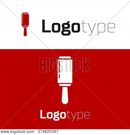 Red Adhesive Roller For Cleaning Clothes Icon Isolated On White Background. Getting Rid Of Debris, D