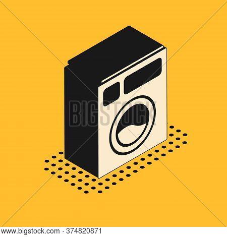 Isometric Washer Icon Isolated On Yellow Background. Washing Machine Icon. Clothes Washer - Laundry