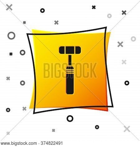 Black Neurology Reflex Hammer Icon Isolated On White Background. Yellow Square Button. Vector Illust