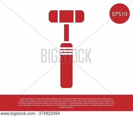 Red Neurology Reflex Hammer Icon Isolated On White Background. Vector Illustration