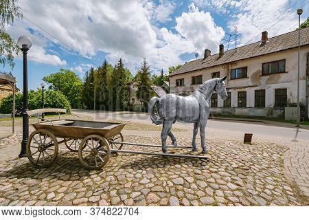 Jekabpils, Latvia - June 16, 2020: Sculpture