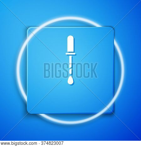 White Pipette Icon Isolated On Blue Background. Element Of Medical, Chemistry Lab Equipment. Pipette