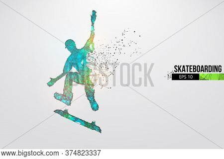 Skateboarding. Abstract Silhouette Of A Wireframe Skateboarder From Particles On The White Backgroun