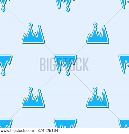 Blue Line Icicle Icon Isolated Seamless Pattern On Grey Background. Stalactite, Ice Spikes. Winter W