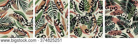 Leopard Fern Leaf Pattern Seamless. Organic Fashionable