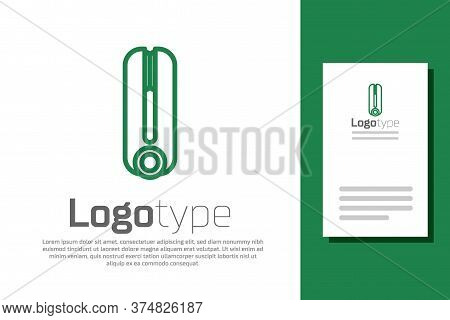 Green Line Curling Iron For Hair Icon Isolated On White Background. Hair Straightener Icon. Logo Des