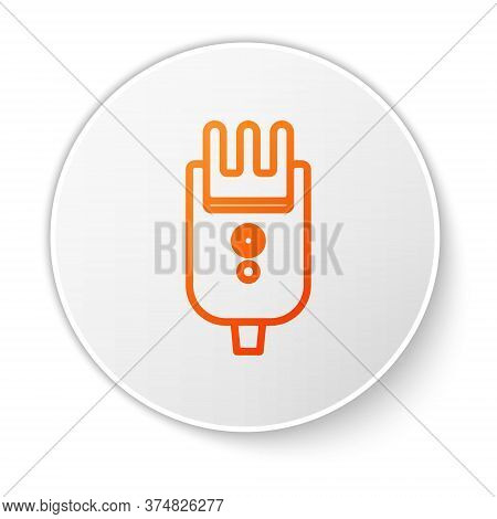 Orange Line Electrical Hair Clipper Or Shaver Icon Isolated On White Background. Barbershop Symbol.