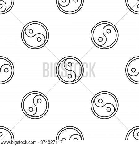Grey Line Yin Yang Symbol Of Harmony And Balance Icon Isolated Seamless Pattern On White Background.