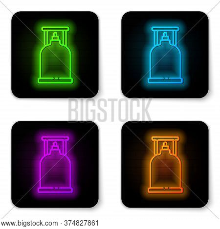 Glowing Neon Line Camping Gas Stove Icon Isolated On White Background. Portable Gas Burner. Hiking,