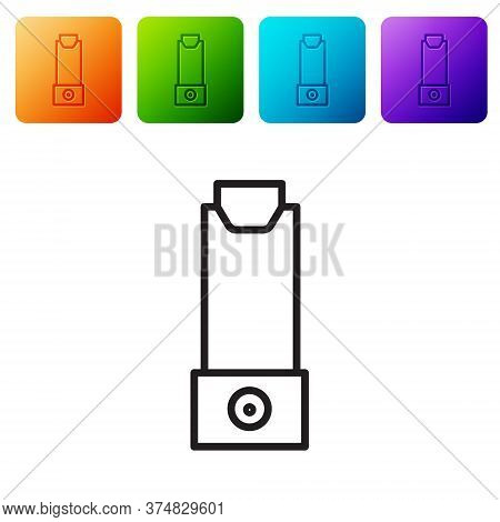 Black Line Inhaler Icon Isolated On White Background. Breather For Cough Relief, Inhalation, Allergi
