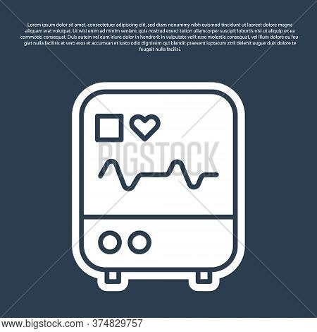 Blue Line Computer Monitor With Cardiogram Icon Isolated On Blue Background. Monitoring Icon. Ecg Mo