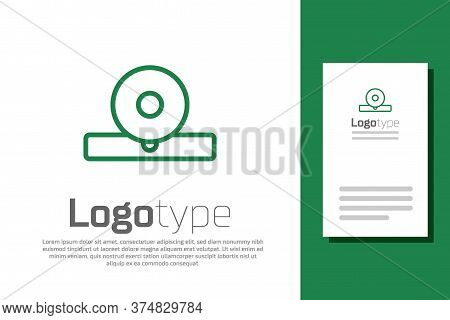 Green Line Otolaryngological Head Reflector Icon Isolated On White Background. Equipment For Inspect