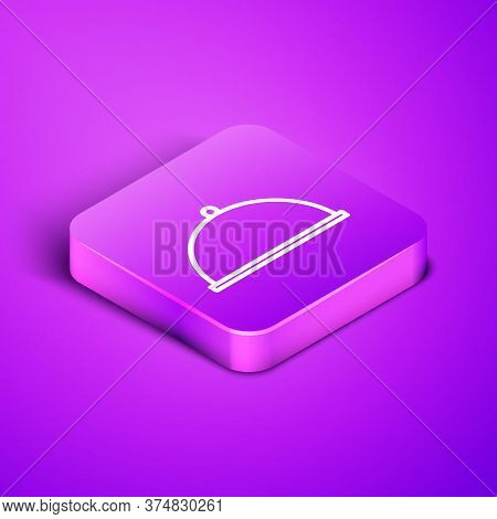 Isometric Line Covered With A Tray Of Food Icon Isolated On Purple Background. Tray And Lid. Restaur