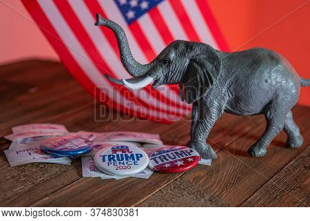 Washington Dc--july 4, 2020; Donald Trump And Mike Pence Campaign Buttons On I Voted Stickers With T