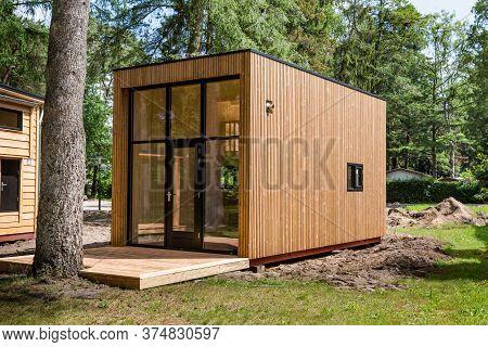 Beekbergen, Netherlands, June 21 2019: Wooden Tiny House Under Construction. A New Form Of Living Ph