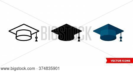 Mortarboard Icon Of 3 Types. Isolated Vector Sign Symbol.